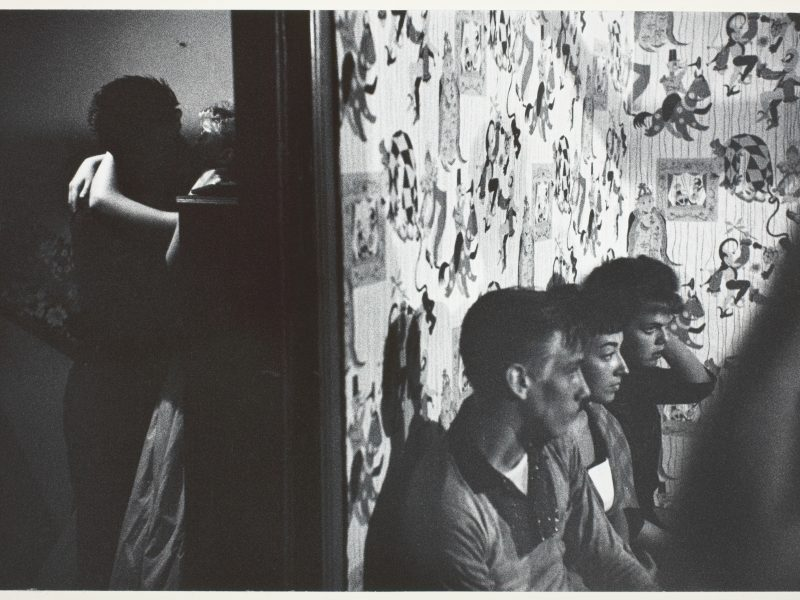 "Bruce Davidson American, born 1933 Three Girls and Boy in a Room; Boy and Girl Kissing in Another Room, 1959 Gelatin silver print, from the series ""Brooklyn Gang"" 24 x 34.9 cm (image/paper); 56 x 45.8 cm (mount) Photography Gallery Fund 1962.185"