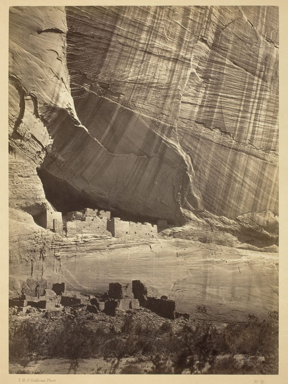 Timothy O'Sullivan, Ancient Ruins in the Cañon de Chelle, N.M. In a niche 50 feet above present Cañon bed., 1873