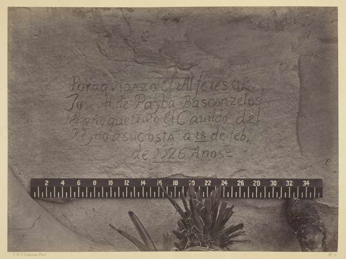 Timothy O'Sullivan, Historic Spanish Record of the Conquest, South Side of Inscription Rock, N.M.- No. 3., 1873
