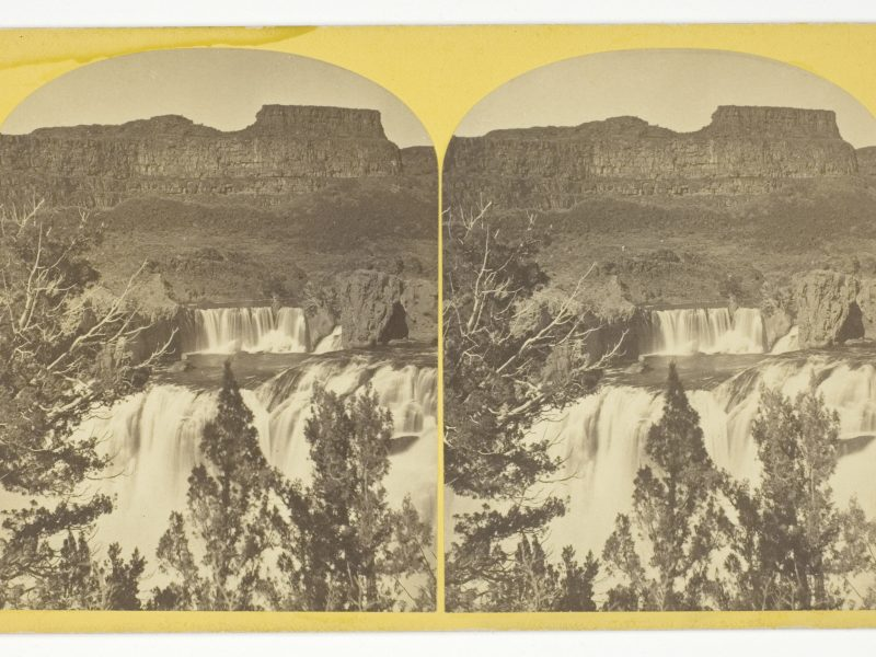 "Timothy O'Sullivan, Shoshone Falls, Snake River, Idaho, looking through the timber, and showing the main fall, and upper or ""Lace Falls"", 1874"