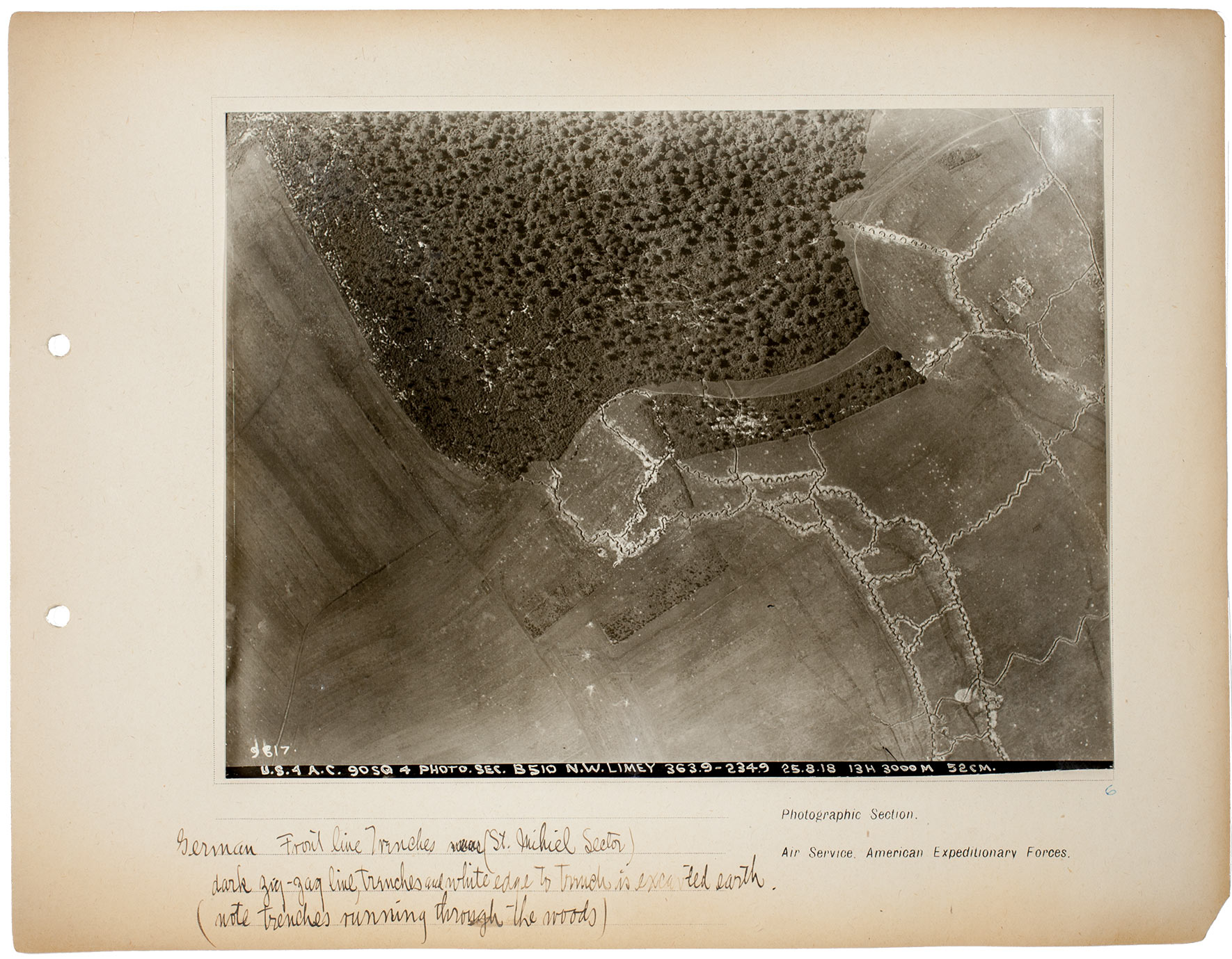6 German Frontline Trenches St Mihiel Sector Dark Zig Zag Line Wwi Trench Diagram From An Album